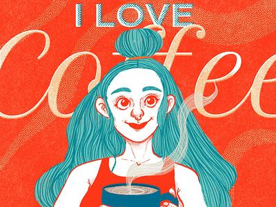 I LOVE COFFEE graphic design tiphography tipografía diseño ilustración procreate digital illustration digital illustration