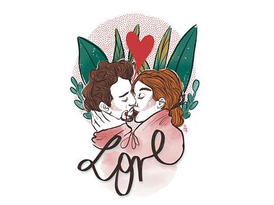 LOVE - kiss me procreate graphic design design illustration diseño digital illustration ilustración digital ilustración