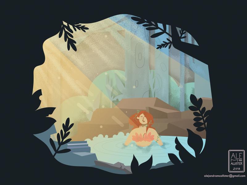 Woman in Lake concept art game game art vector app ilustración digital ilustración diseño