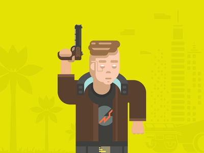 Cyberpunk 2077 man palm city auto pistol hero cyberpunk 2077 cyberpunk flat illustration illustration flat