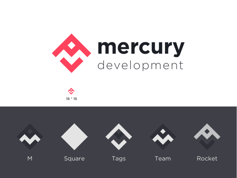 Mercury Logo Design Contest logo challenge challenge web development square logo simple abstract logo software mercury vector minimal logo branding typography shapes community color negative space design