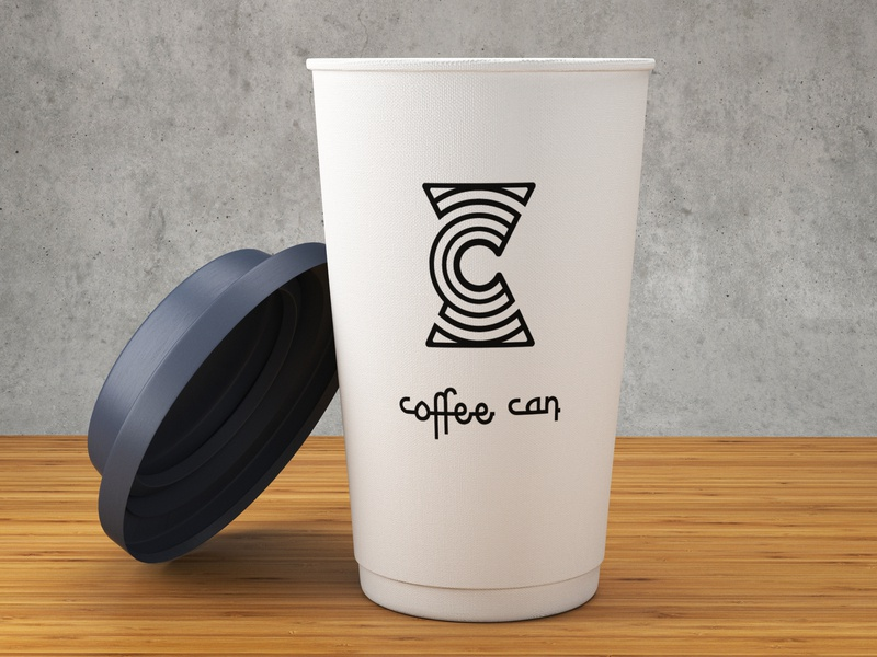 Coffee Can ui app mobile lettering character graphic design minimal illustrator ios flat icon clean brand type identity vector logo illustration branding design