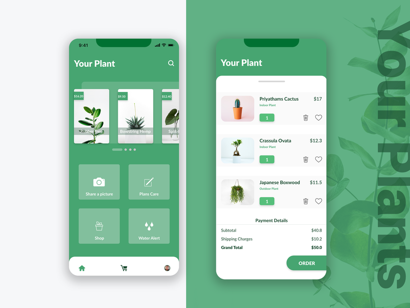 Your Plants ios icon logo tree enviroment mobile design mobile ui mobile app clean ux ui mobile minimal design branding brand app eco friendly green plant