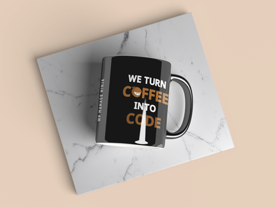 WP manage Ninja Black Mug ninja wpmanageninja wordpress branding illustration design