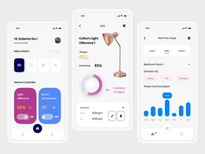 Jin.id - Smart Home Mobile Apps smart home lamps design uidesign uxdesign ui ux designer app rooms controllers mobile app typography homeapp smarthome