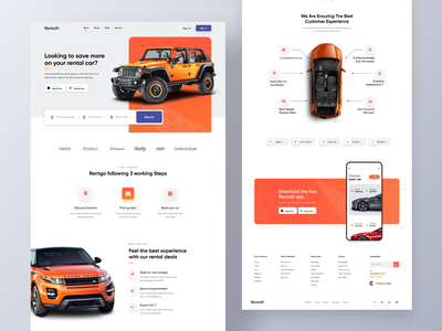 RentalX | Car Rental Website 2020 trend devignedge uiux ui design website web design website design mockup colorful app landingpage app landing rental app renting rental homepage real estate home booking rent car