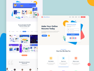 #Sign up page - Make Your Online Resume Today! agency inspiration layout signup website concept website web design web ux uidesign ui typography minimal landing page ui landing page design landing page illustration design 2019 trends