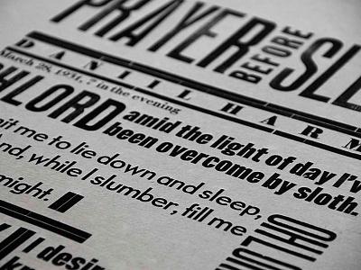 The Prayer before Sleep daniil harms letterpress logotype lettering calligraphy