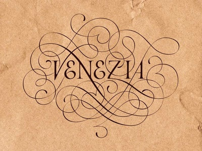 Lettering for calligraphic project in the Venice flourish italycalligraphy italy logotype spencerian lettering venezia handmade venice copperplate calligraphy