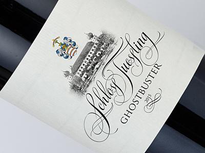 "Wine label for the castle ""Schloss Tüßling"" wine design wine label calligraphy"