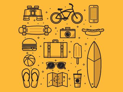 California Travel Icon set sunnies map soda burger hot dog surfboard beach travel california