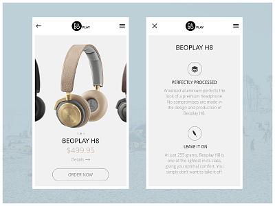 B&O Play App flat sketch minimalistic concept ux ui authentic headphones audio play app