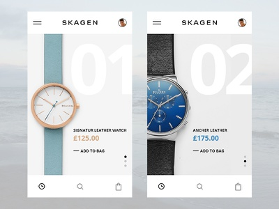 Skagen App UI challenge for myself. ui challenge skagen blue mobile watch app
