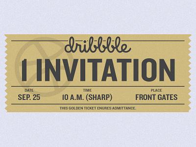 1 Invitation for Dribbble dribbble gold willy wonka ticket shot need invite invites invite invitation illustration dribbble invitation designer design