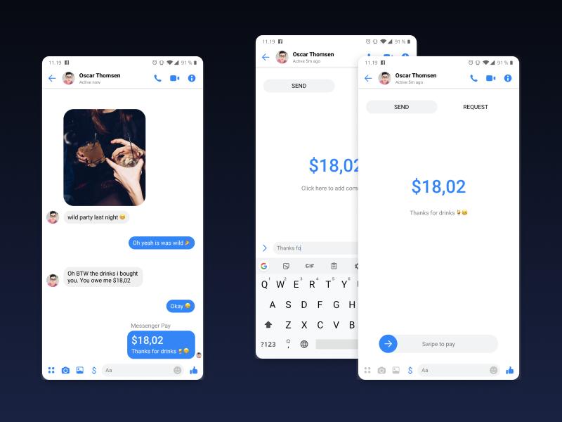 Facebook Messenger Pay Concpt payment app pay messenger conceptual ideas idea facebook flat ux design app ui concept