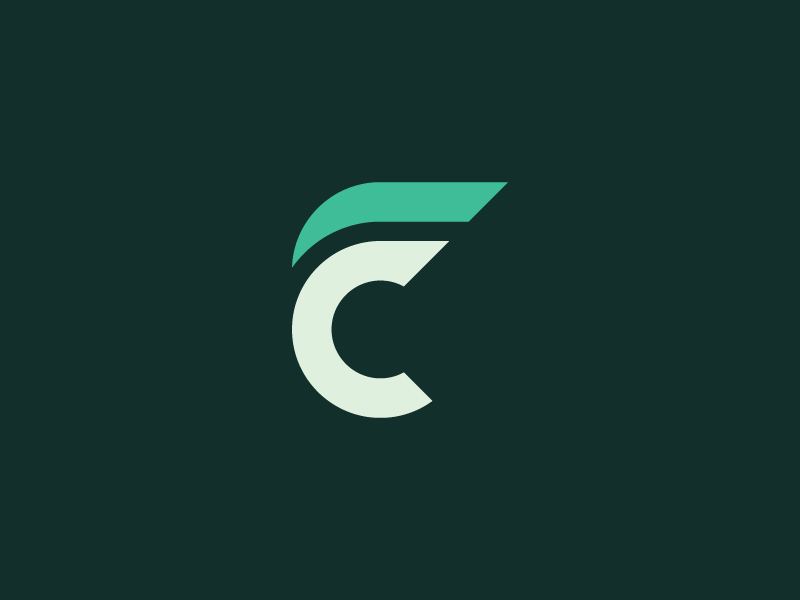 CF connected monogram fitness concept green letter illustrator design mark icon logo cf