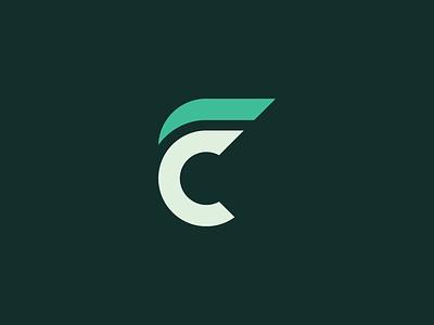 CF fc connected monogram fitness concept green letter illustrator design mark icon logo cf