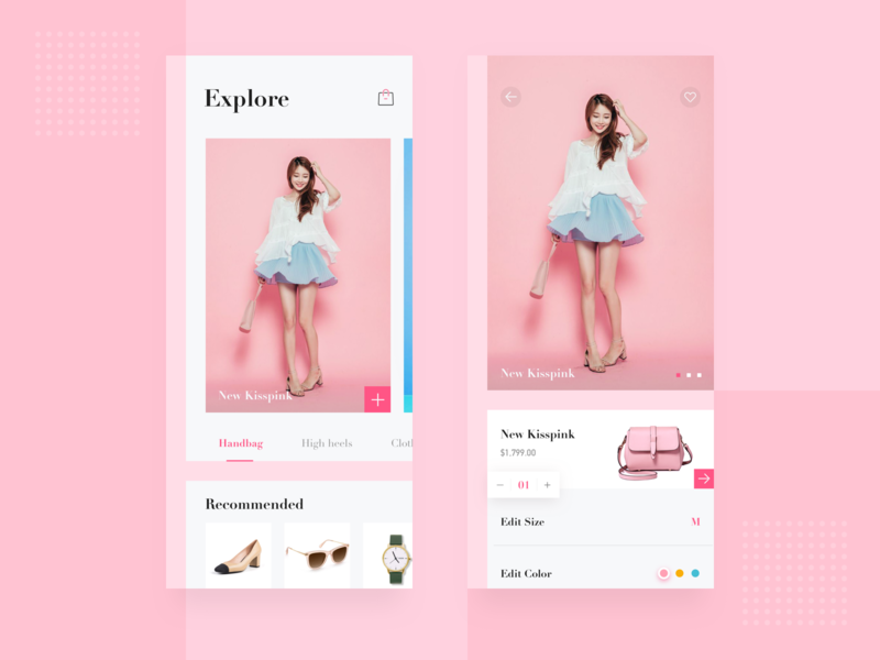 Shopping APP for Female female watch glasses pink clothes high heel handbag buy payment shopping ui app