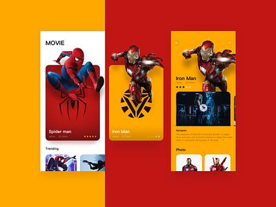 New Movie APP Design hero avengers iron man spider man movie app app ui payment