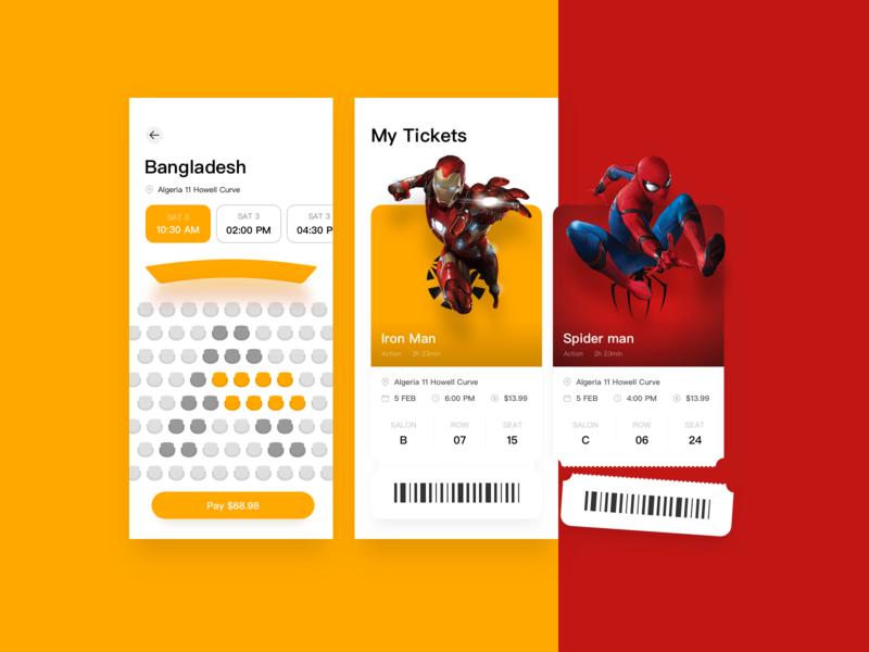 New Movie APP Design tickets spider man movie app iron man hero avengers payment ui app
