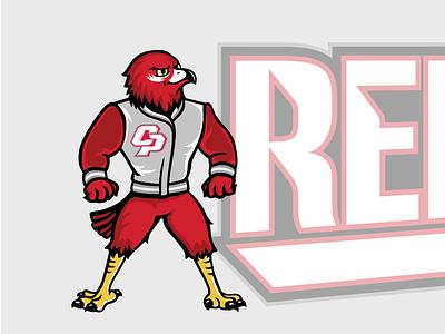 Red Hawk Mascot athletics athletic athlete sports branding pitcher baseball letterman sports animal red hawk vector illustration characterdesign mascot character hawk red bird mascot logo mascot