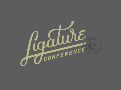Ligature Conference Logo new orleans con conference script lettering logotype logo