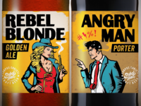 Rebel Blonde and Angry Man Beer Labels