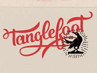Tanglefoot script stamp bird railroad spike grackle hand lettering lettering logo logotype type