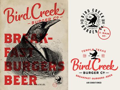 Bird Creek Burger Co. temple texas custom type hand lettering stamp badge logo beer burgers breakfast creek bird grackle