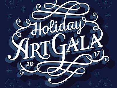 Holiday Art Gala type custom flourish script winter snow gala art holiday