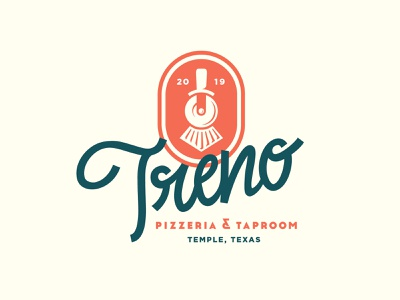 Treno Concept train wordmark logo italian pizza cutter taproom beer pizza
