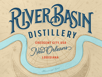 River Basin Distillery Bottle Hero spirits distilling distillery louisiana crescent city crescent new orleans rye whiskey logotype