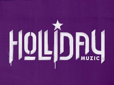 Holliday Logotype purple logo muzic music stencil hiphop logotype