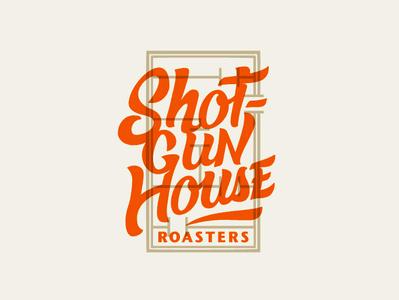 Shotgun House Roasters overlay shotgun house shotgun roasters coffee logo hand lettering