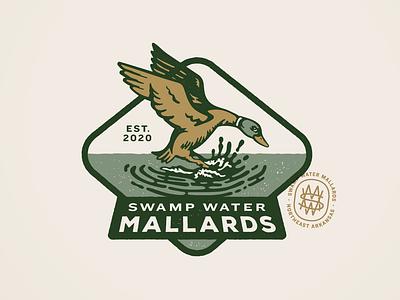 Swamp Water Mallards Badge waterfowl mallard illustration badge wildlife outdoors hunting duck hunt duck