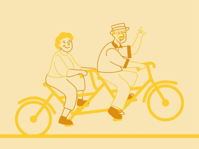 Strollin' monochrome color blocking yellow design age people illustration