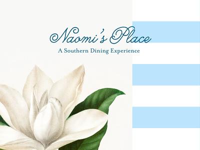 Naomi's Place Branding logo design blue plaid magnolia branding southern restaurant resturant southern