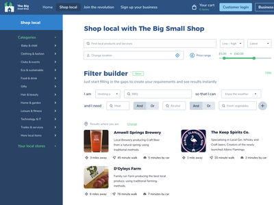 The Big Small Shop redesign with custom filter builder redesigned tailwindui tailwind tailwindcss ecommerce conditional lists filter builder filter ui ui design ui design web design web webdesign redesign