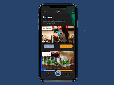 Make Me A Cocktail app smart animate figma mybar make me a cocktail cocktail dark mode dark theme animation feed application ui app design application app design ux design ux uiux ui design product design ui