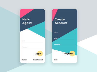 Login | Register Page colorful user experience mobile register login ux ui design