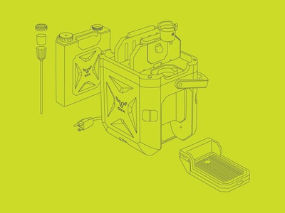 OXX COFEEBOXX design line drawing technical drawing illustration