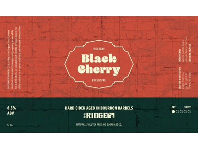 Black Cherry Holiday Label label alcohol branding packaging design branding