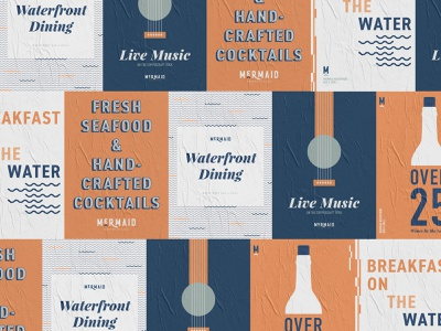 Mermaid Waterfront Bar & Grill restaurant branding graphic design posters typography packaging design