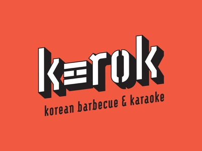 K-Rok Korean Barbecue & Karaoke restaurant branding logo graphic design typography design