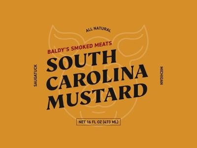 Baldy's Smoked Meats South Carolina Mustard packaging graphic design branding design