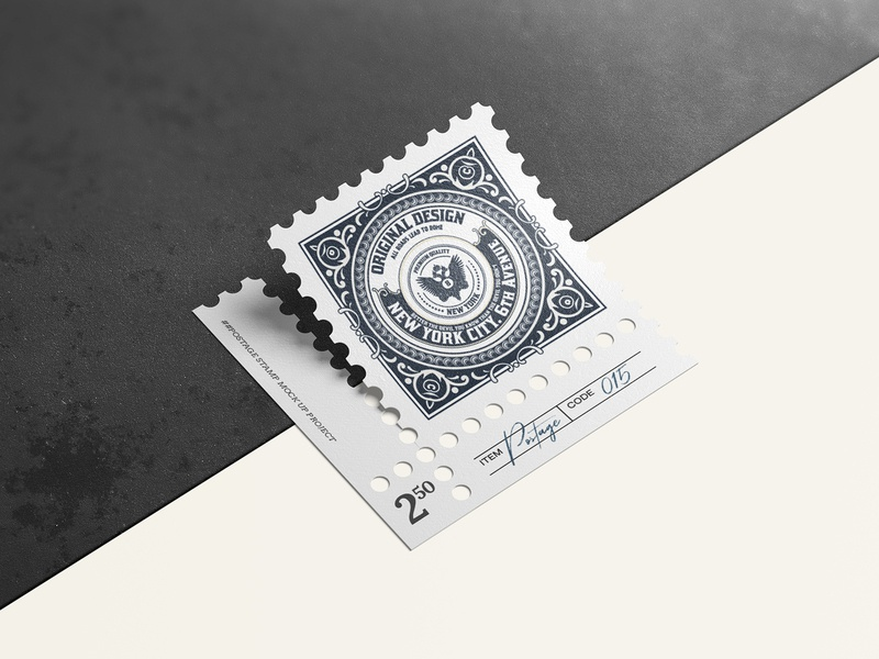 Postage stamps mock up 3 paper template photorealistic mockup envelope vintage postage postage stamp smart object psd logo mock-up branding