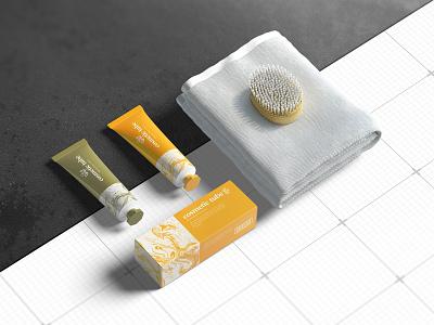 Cosmetic tube  mock up color beauty box tube cosmetic cosmetic tube mock-up template paper packaging logo photorealistic mockup smart object psd branding