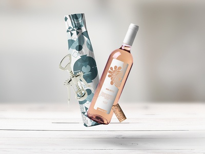 Wine Bottle Wrapping bottle glass photorealistic mockup red wine wine bottle smart object logo label paper packaging branding psd