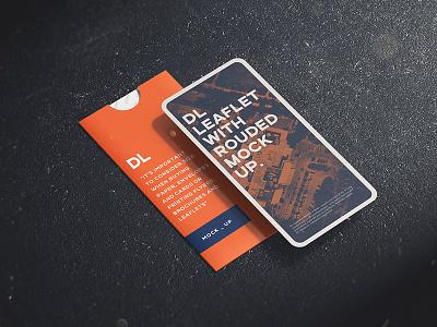 Leaflet DL with rounded corner Mock up advertising corner psd template photorealistic mockup leaflet dl paper mock-up branding smart object