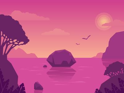 Pink flat landscape